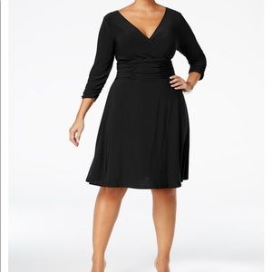 Women's 1X Petite Ruched A-Line Cocktail Dress